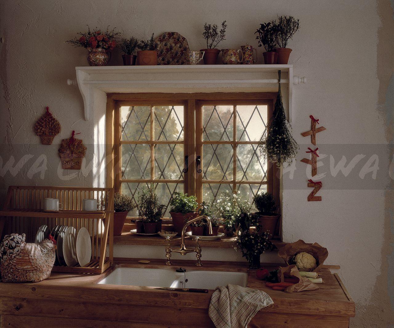 Image Chintz Pattern China On Shelf Above Lattice Window