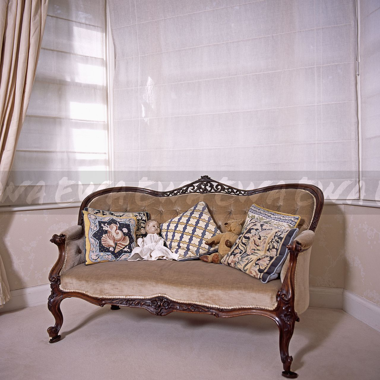 Antique Tapestry Sofa: Image: Tapestry Cushions And Vintage Doll On Beige Velour