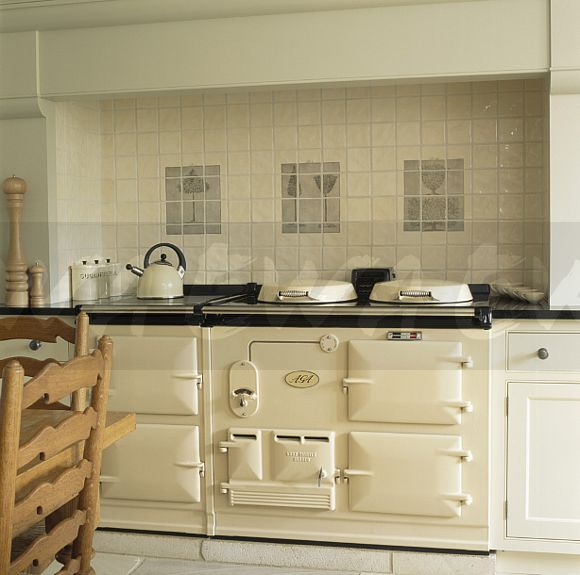 Image Cream Wall Tiles Above Cream Double Aga Oven In Country