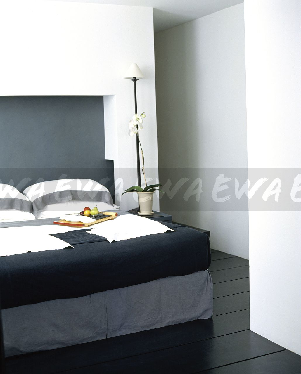Modern Family Pillows On Bed : Image: Black+white striped pillows and black bed-cover on bed in modern white bedroom - EWA ...