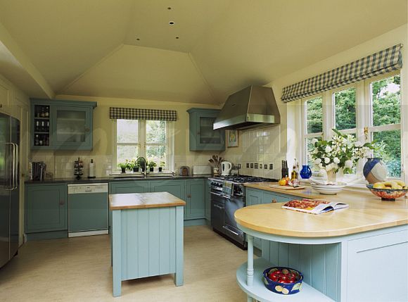 Island Unit In Cream Kitchen Extension With Ed Turquoise Cupboards And Black White Blinds