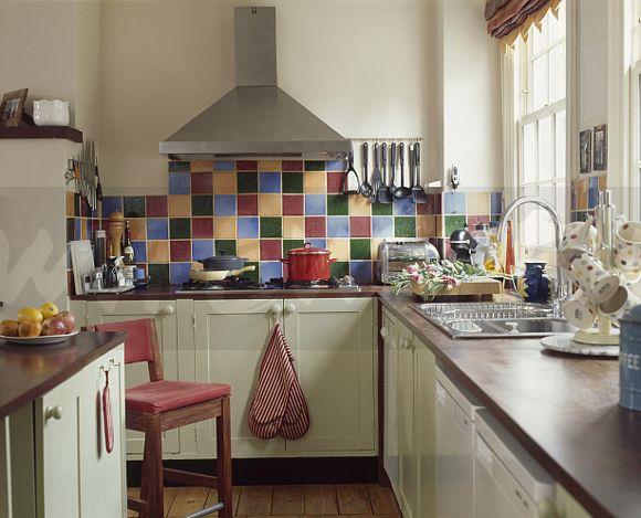 Superior ... Multicoloured Tiles Above Hob In Modern Kitchen With Dark Wook Worktops  On Cream Units ... Gallery