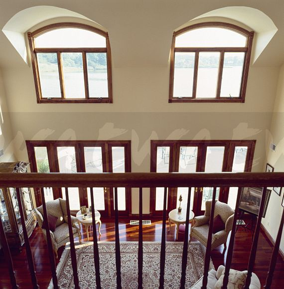 Image Aerial View Over Wooden Banisters To Double Height Modern