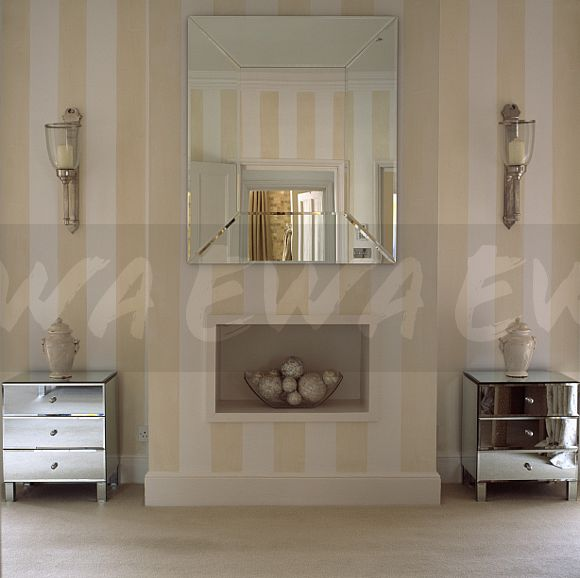 Image Large Mirror Above Fireplace Alcove In Townhouse Bedroom With