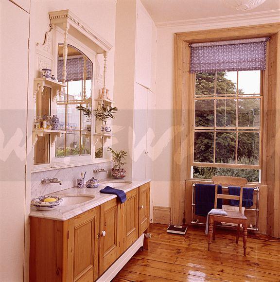 Pine Bathroom Vanity Unit: Image: Sideways View Of Edwardian Overmantel Mirror Above