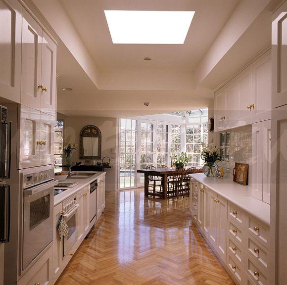 Image: Parquet Flooring In Modern White Kitchen