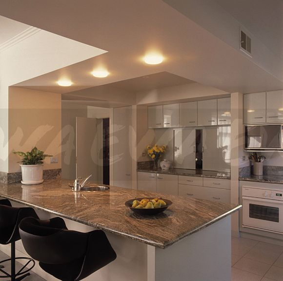 White Marble Kitchen Worktops: Image: Black Chairs At Breakfast Bar With Marble Worktop