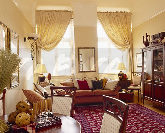 red cream living room image curtains and patterned carpet in 14671