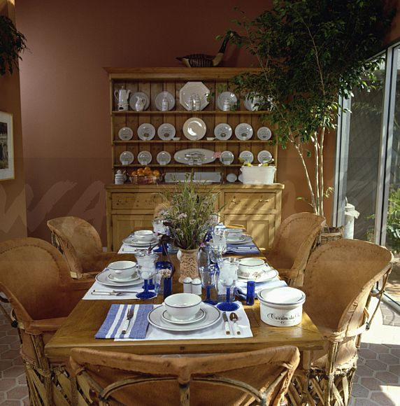 Image: Mexican leather tub chairs at table set for lunch with blue ...