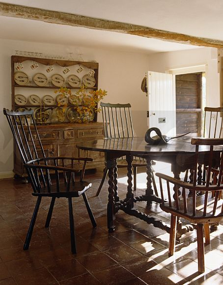 Country Dining Room With 17th Century Welsh Dresser Display Of 18th Czech Plates By Svend Bayer