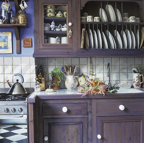 Integral Plate Rack Above Sink In Purple Distressed Wood Kitchen Unit