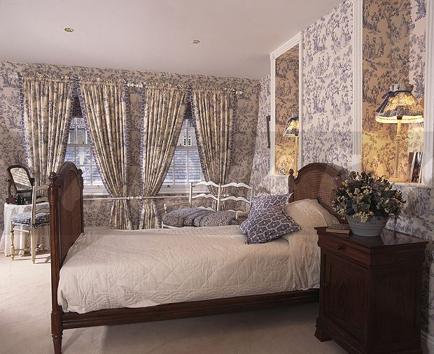 Blue Toile De Jouy Wallpaper And Matching Curtains In Townhouse Bedroom