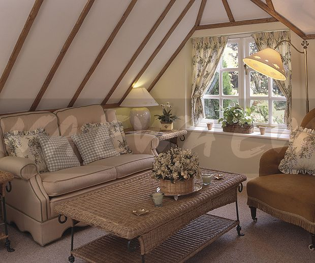 Image Wicker Coffee Table In Cottage Living Room With A Beige Sofa