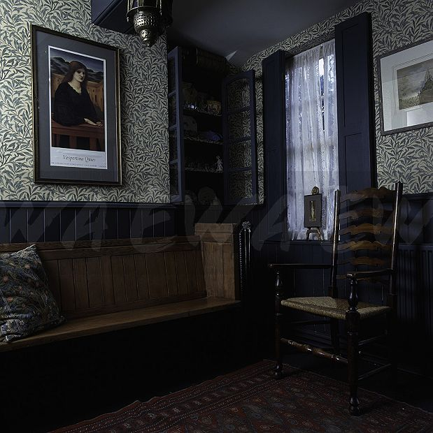 Wooden Settle And Ladder Back Chair In Edwardian Style Room With William Morris Green Willow Pattern Wallpaper