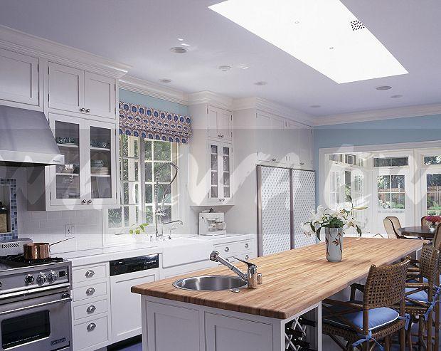 Underset Steel Sink In Rectangular Island Unit With Beech Worktop Modern White Kitchen Extension