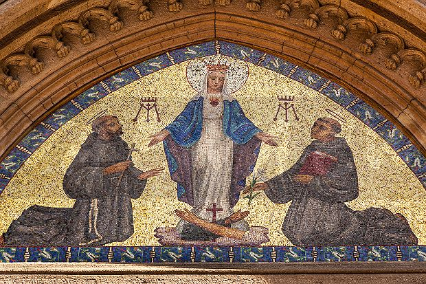 Image: Mosaic of Virgin Mary and two Saints, Saint Anthony
