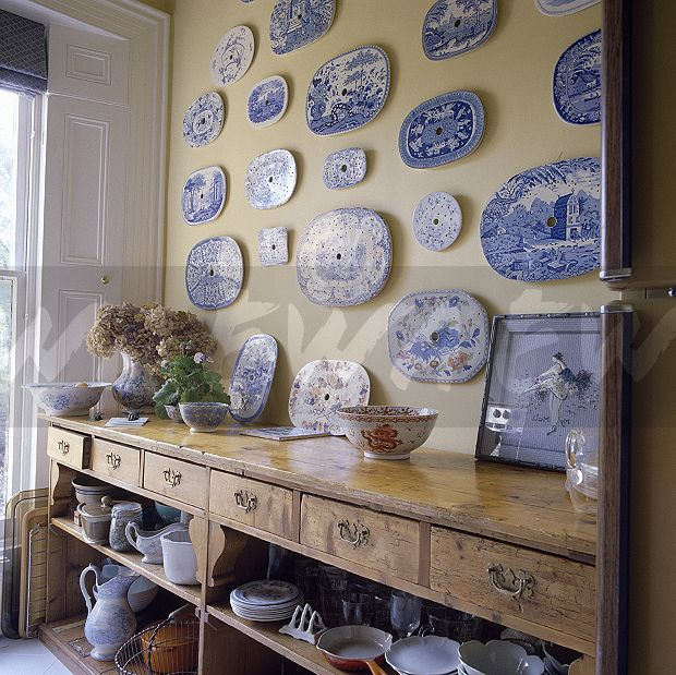 Image Collection Of Antique Blue White Plates On Wall Above An Old Pine Sideboard Ewa Stock Photo Library