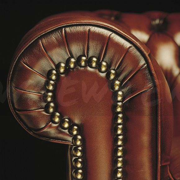 Image close up of studded brown leather sofa ewa stock for Brown leather couch with studs