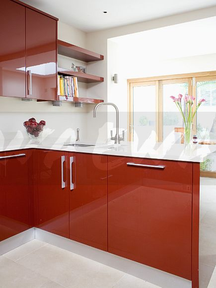 Image stainless steel mixer tap and underset sink in red for Red fitted kitchen