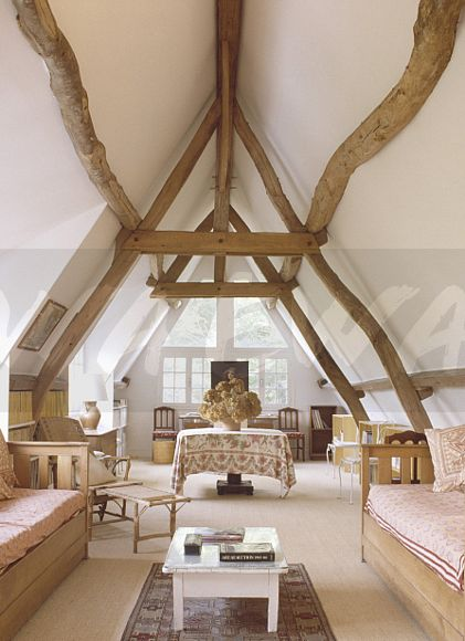 Image Rustic Wooden Beams On Apex Ceiling In Country Loft