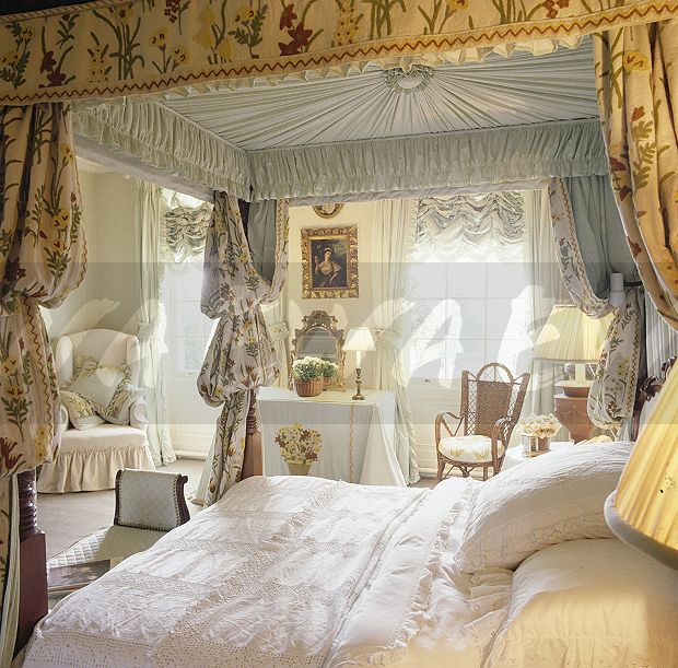 Image White Vintage Linen On Four Poster Bed With Opulent Drapes In Eighties Bedroom Ewa