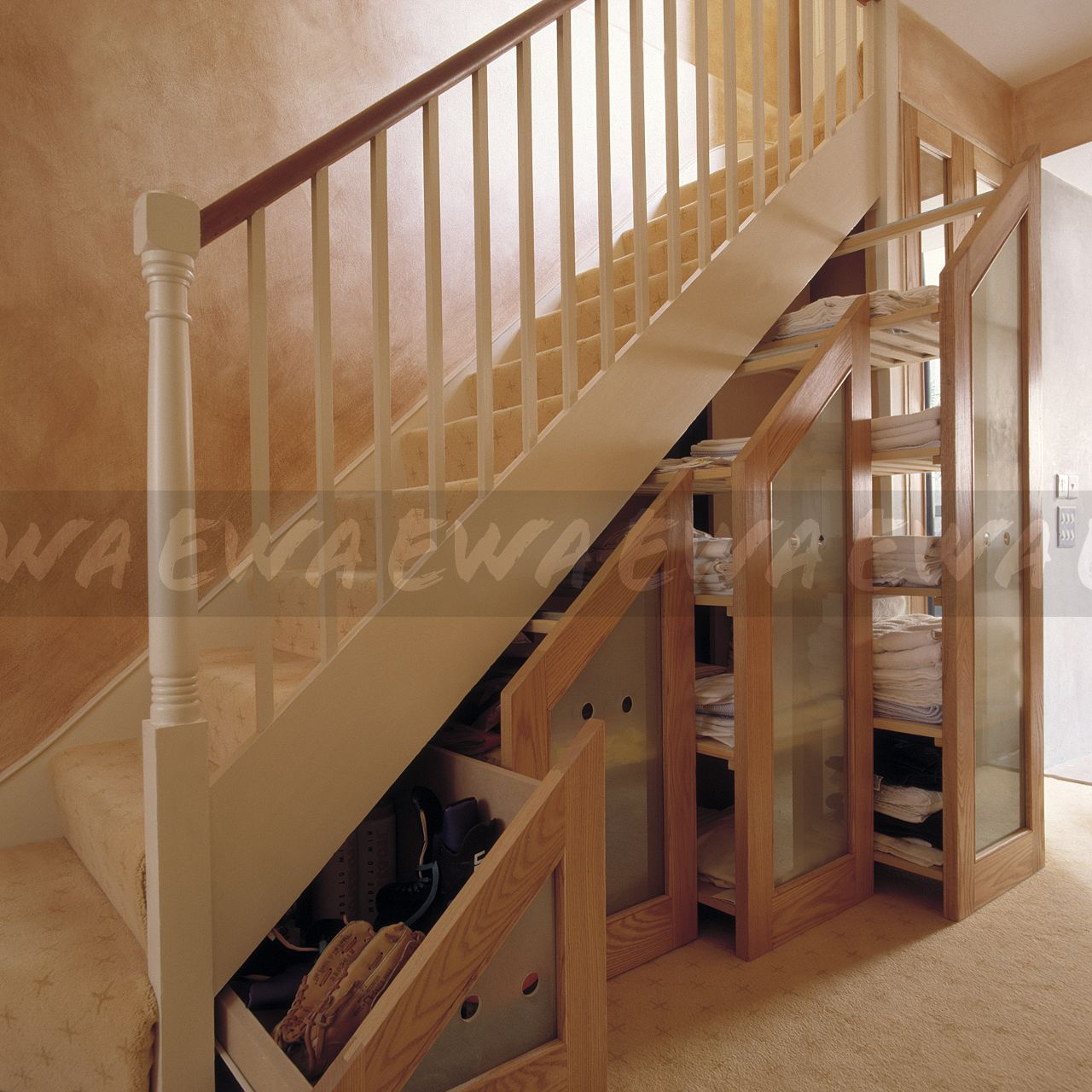 image retractable understairs storage drawers with opaque