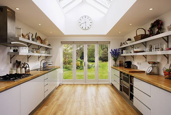 Image Wooden Flooring And Glass Patio Doors In Modern