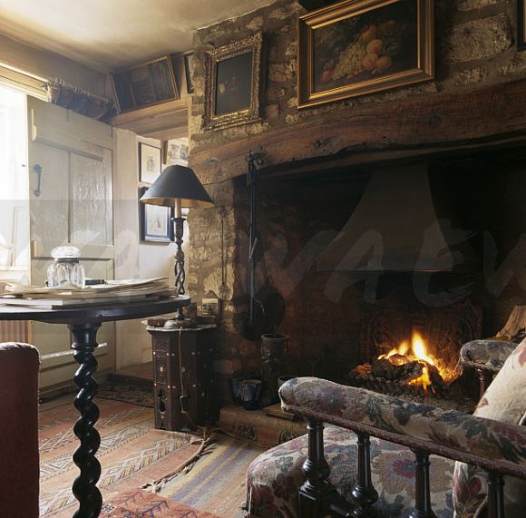 Image pictures on wall above inglenook fireplace in old for Old fashioned living room designs