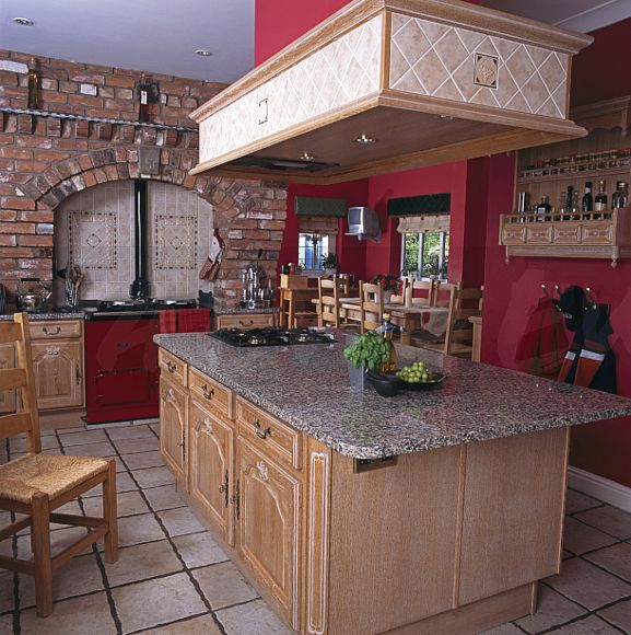 Image: Wooden Extractor Hood Above Island Unit With