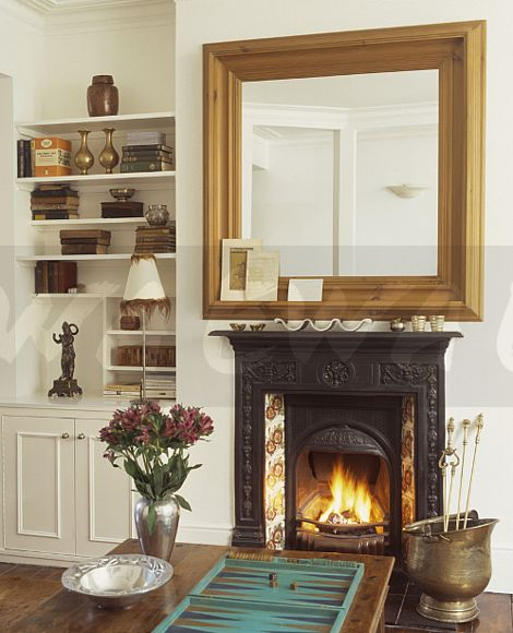 Image Large Pine Mirror Above Victorian Cast Iron