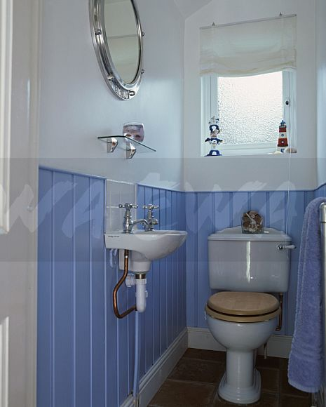 Image Frosted Glass Window Above Toilet In White Cloakroom With Blue Tongue Groove Dado
